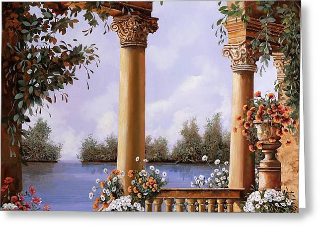 Le Arcate Chiuse Sul Lago Greeting Card by Guido Borelli