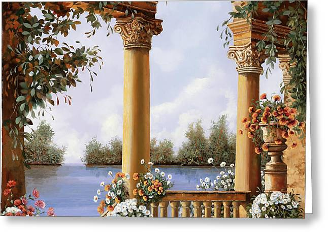 Le Arcate Sul Lago Greeting Card by Guido Borelli