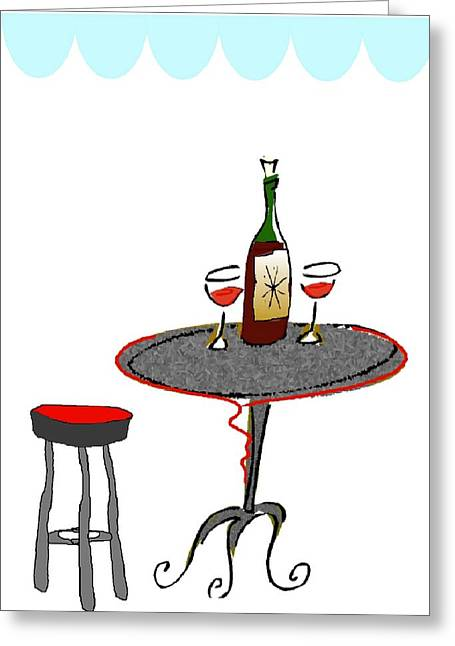 Le Bistrot Greeting Card by Mimo Krouzian