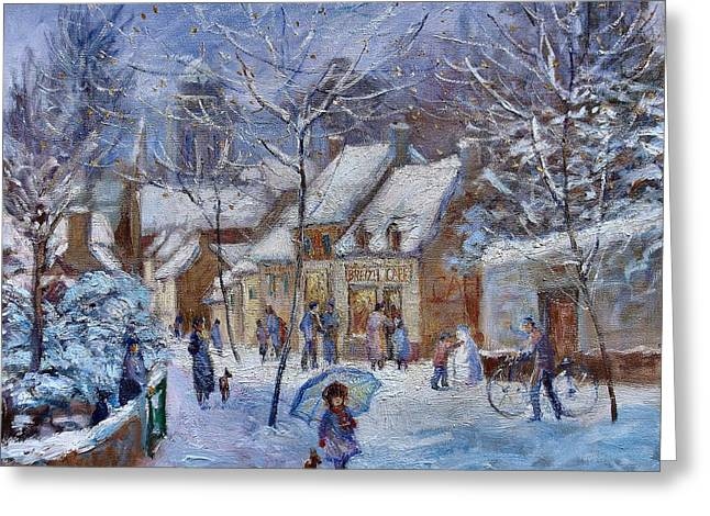 Le Cafe Breizh A Warm Welcome In The Winter Snow Greeting Card