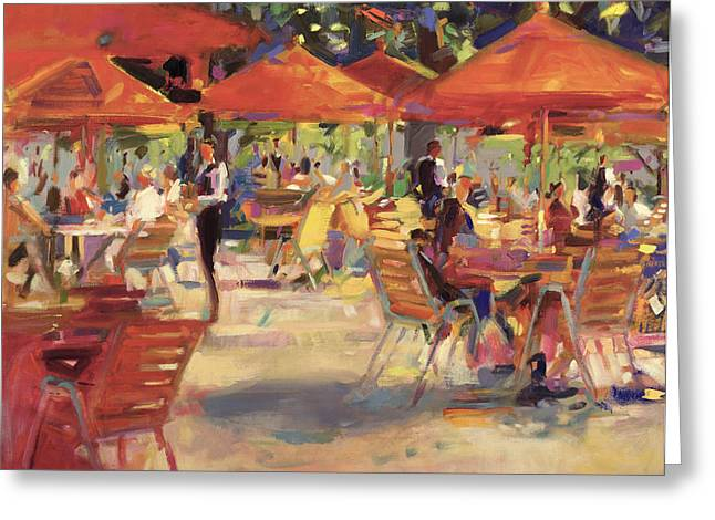 Chairs Greeting Cards - Le Cafe du Jardin  Greeting Card by Peter Graham
