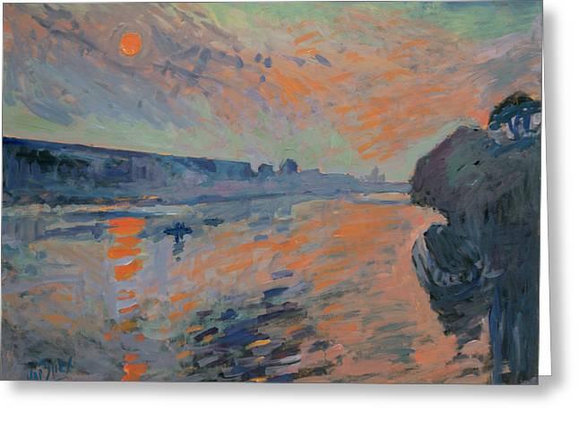 Le Coucher Du Soleil La Meuse Maastricht Greeting Card by Nop Briex