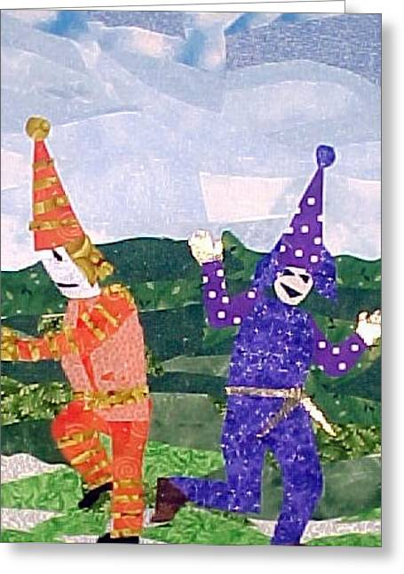 Dancer Tapestries - Textiles Greeting Cards - Le Danse de Mardi Gras Greeting Card by Charlene White