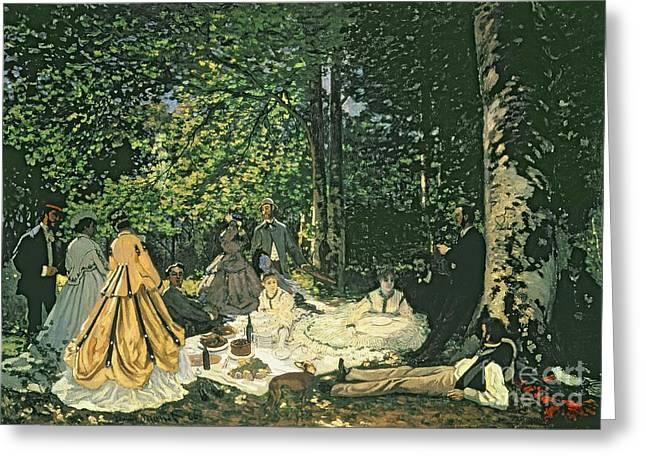 Le Dejeuner Sur Lherbe Greeting Card by Claude Monet