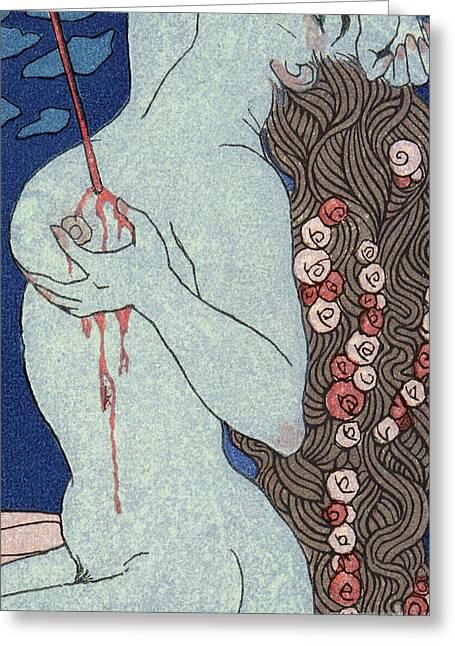 Le Deramantnier Greeting Card by Georges Barbier