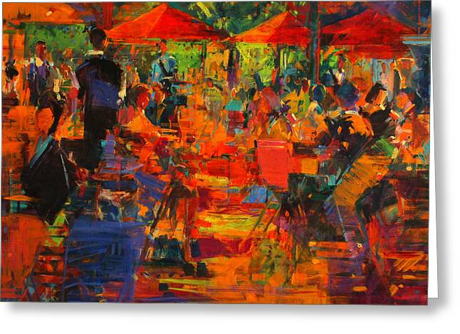 Le Grand Cafe Greeting Card by Peter Graham