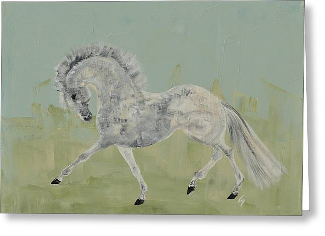Le Gris Cheval Greeting Card by Liz Pizzo