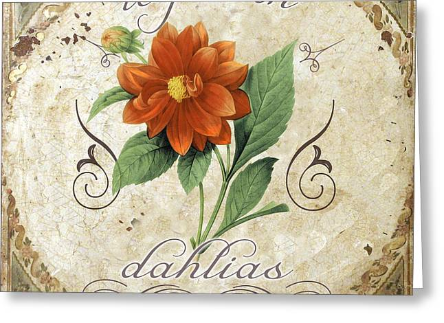 Le Jardin Dahlias Greeting Card by Mindy Sommers