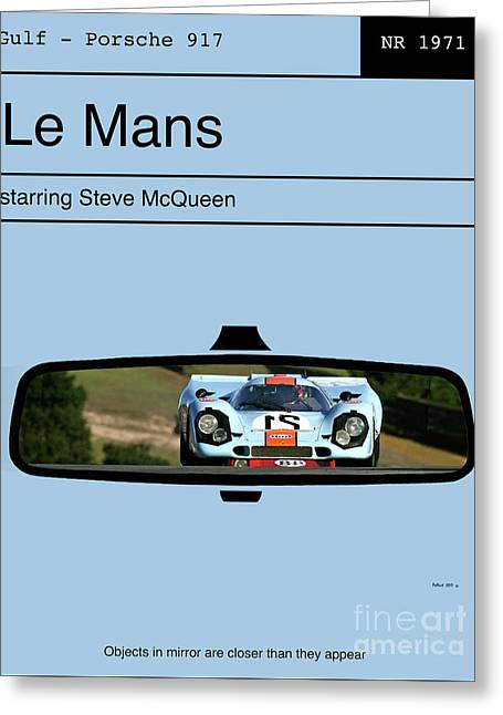 Le Mans, Steve Mcqueen, Gulf Porsche 917, Minimalist Movie Poster Greeting Card