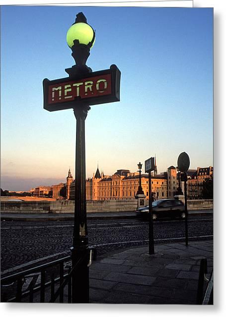 Le Metro At Dusk Greeting Card by Kathy Yates