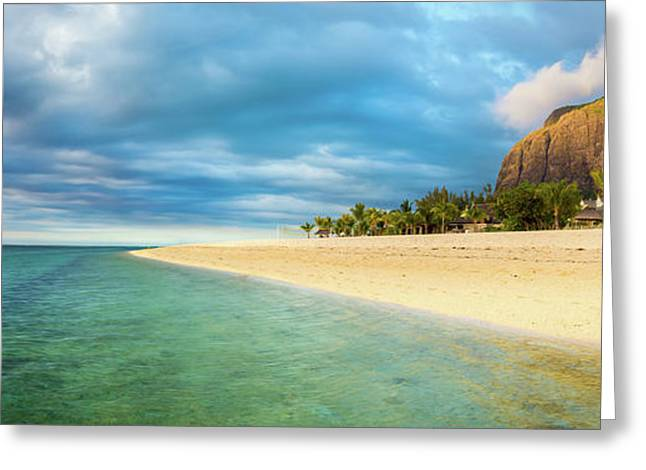 Le Morne Brabant At Sunset. Panorama Greeting Card
