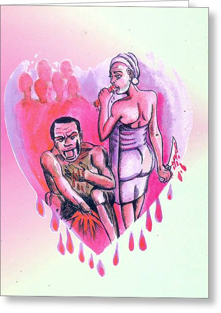 Greeting Card featuring the painting Le Pacte by Emmanuel Baliyanga