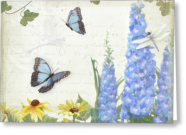 Greeting Card featuring the painting Le Petit Jardin 1 - Garden Floral W Butterflies, Dragonflies, Daisies And Delphinium by Audrey Jeanne Roberts