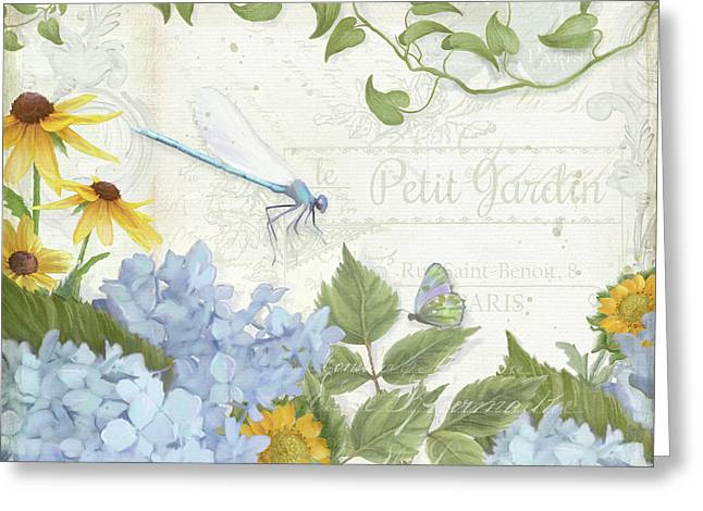 Greeting Card featuring the painting Le Petit Jardin 2 - Garden Floral W Dragonfly, Butterfly, Daisies And Blue Hydrangeas by Audrey Jeanne Roberts