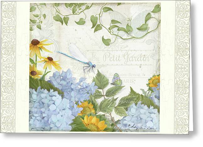 Greeting Card featuring the painting Le Petit Jardin 2 - Garden Floral W Dragonfly, Butterfly, Daisies And Blue Hydrangeas W Border by Audrey Jeanne Roberts