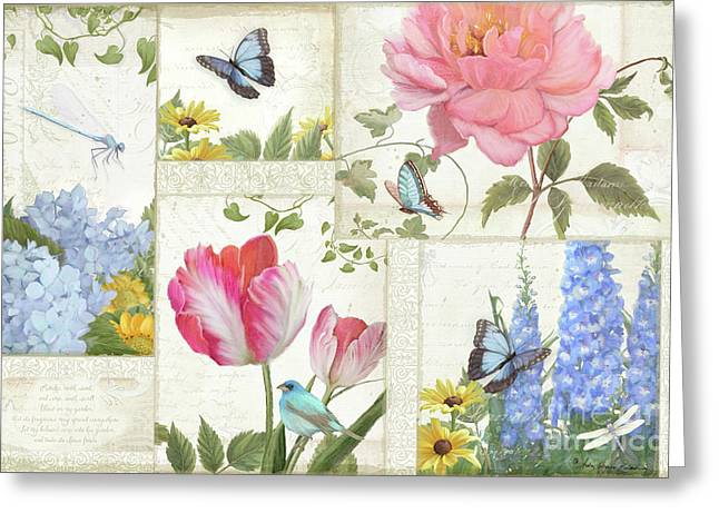 Greeting Card featuring the painting Le Petit Jardin - Collage Garden Floral W Butterflies, Dragonflies And Birds by Audrey Jeanne Roberts