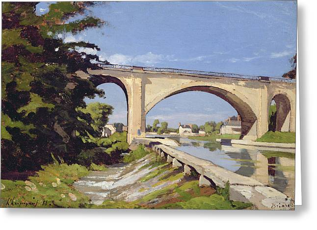 Le Pont Canal A Briare Greeting Card by Henri Joseph Harpignies