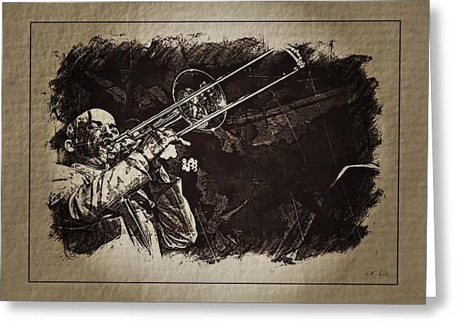 Le Roi Du Trombone  Greeting Card by Jean Francois Gil
