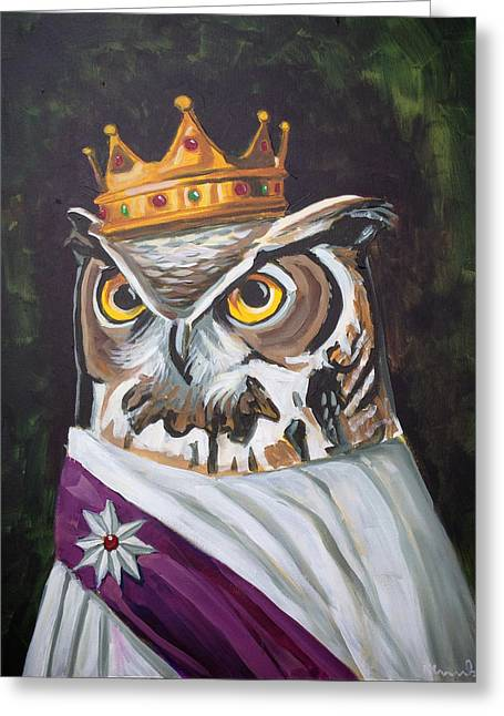 Le Royal Owl Greeting Card by Nathan Rhoads