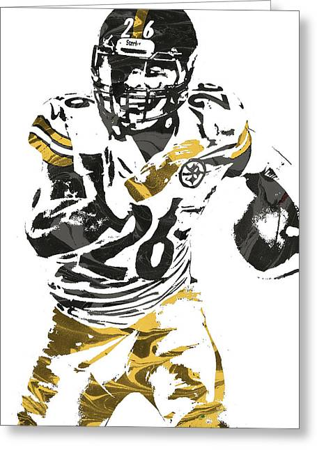 Le Veon Bell Pittsburgh Steelers Pixel Art 2 Greeting Card by Joe Hamilton