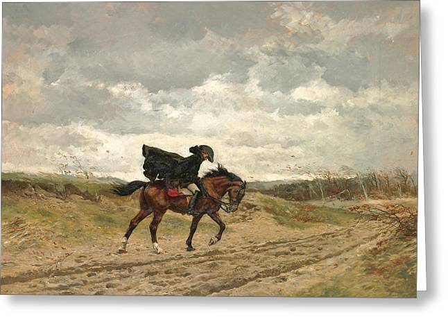 Le Voyageur. Marshal Ney On Horseback Fighting The Wind Greeting Card by Ernest Meissonier