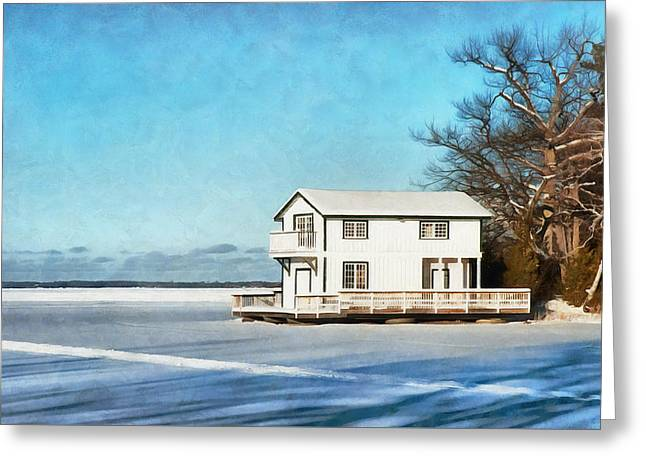 Leacock Boathouse In Winter Greeting Card