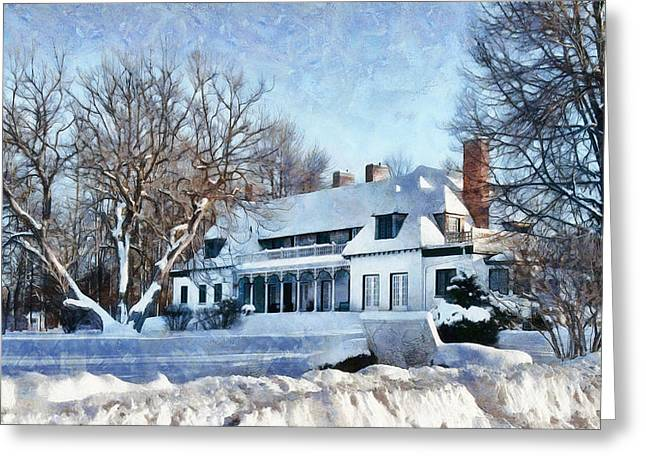 Leacock Museum In Winter Greeting Card