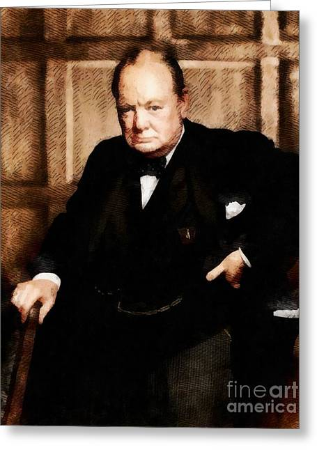 Leaders Of Wwii - Winston Churchill Greeting Card