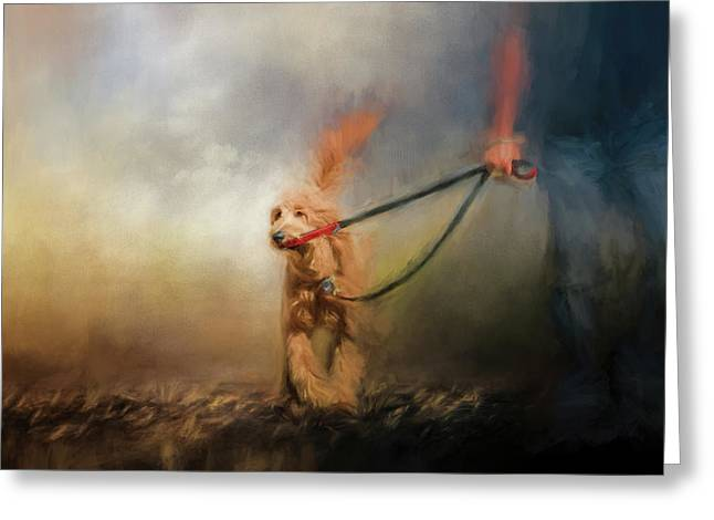 Leading Him Out Of The Storm Dog Art Greeting Card