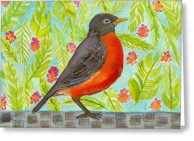 Leaf And Floral Robin Greeting Card by Blenda Studio
