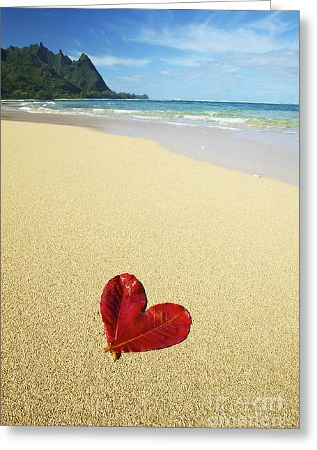 Leaf Heart On Beach Greeting Card