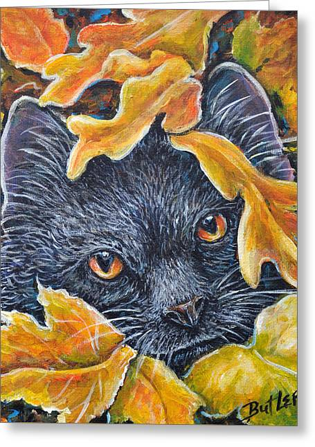 Leaf Jumper Greeting Card by Gail Butler