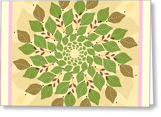 Leaf Mandala Greeting Card by Rosemary Babikan