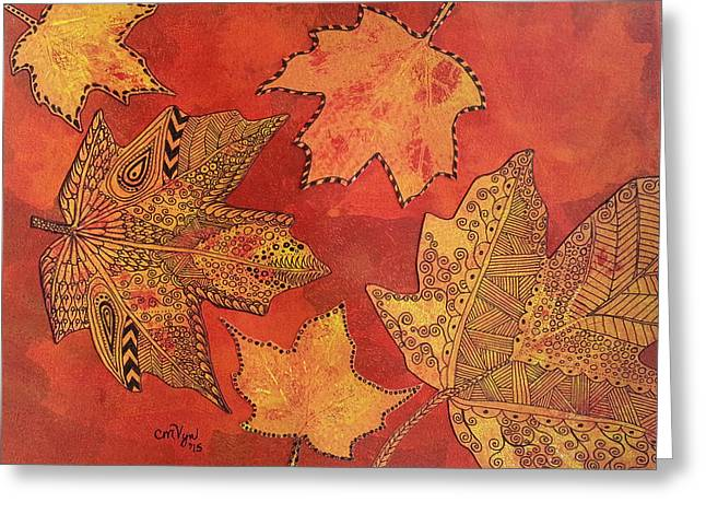 Leaf Prints And Zentangles Greeting Card
