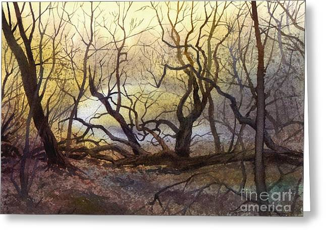 Greeting Card featuring the painting Leafless Trees by Sergey Zhiboedov