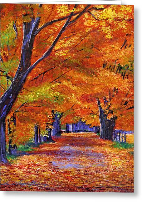 Fallen Leaf Paintings Greeting Cards - Leafy Lane Greeting Card by David Lloyd Glover