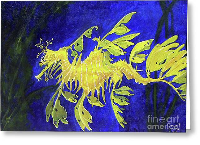 Leafy Sea Dragon Greeting Cards - Leafy Sea Dragon 1 Greeting Card by Lucien Van Oosten