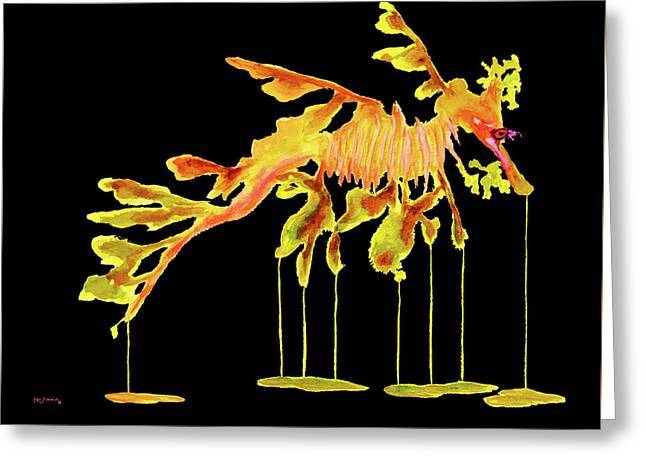 Leafy Sea Dragon On Black Greeting Card by Ken Figurski