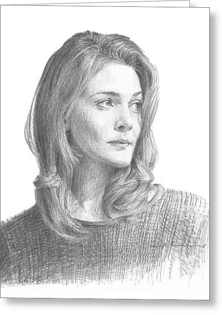 Leah Hager Cohen Pencil Portrait Greeting Card by Mike Theuer