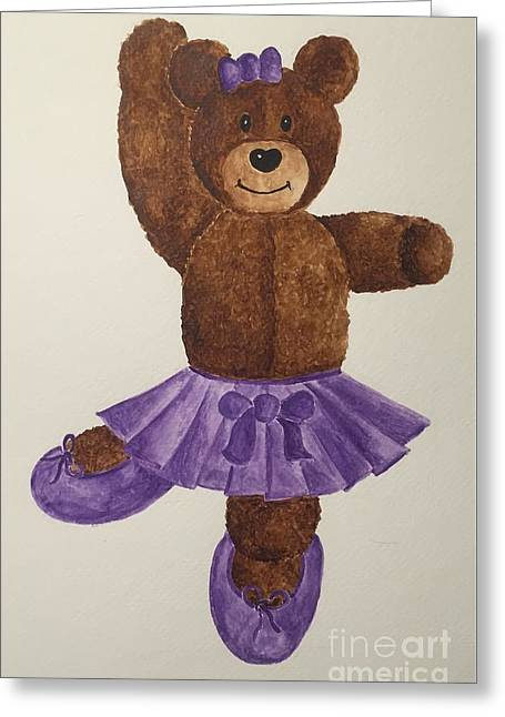 Greeting Card featuring the painting Leah's Ballerina Bear 1 by Tamir Barkan