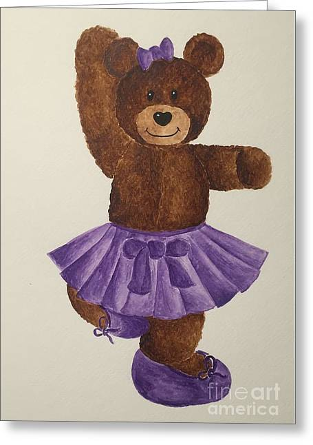 Greeting Card featuring the painting Leah's Ballerina Bear 2 by Tamir Barkan