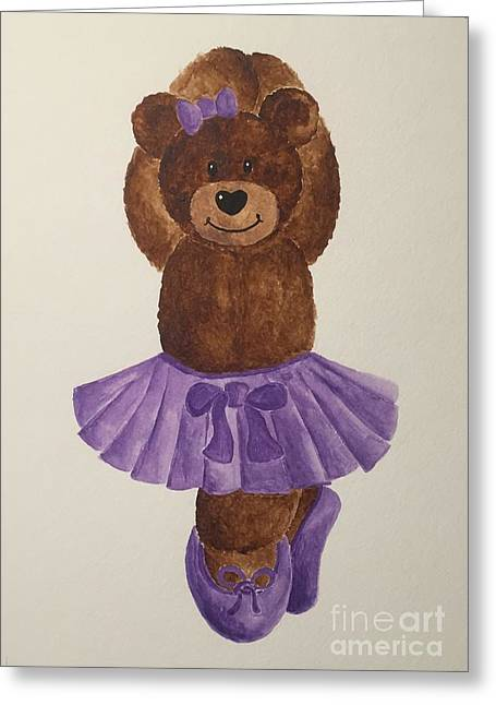Greeting Card featuring the painting Leah's Ballerina Bear 3 by Tamir Barkan