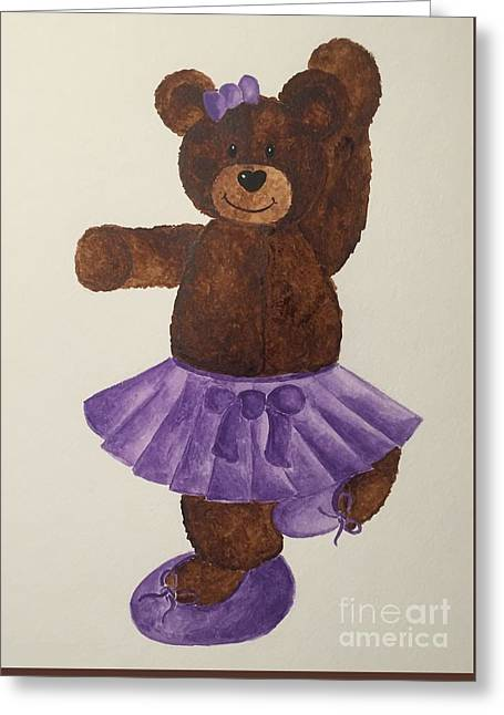 Greeting Card featuring the painting Leah's Ballerina Bear 4 by Tamir Barkan