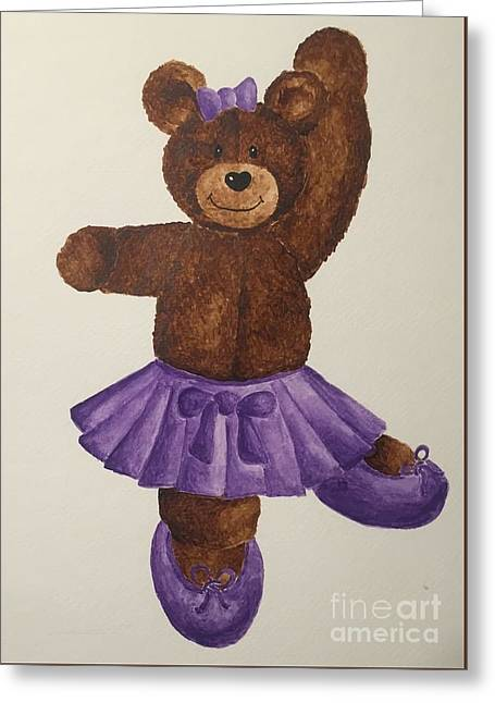 Greeting Card featuring the painting Leah's Ballerina Bear 5 by Tamir Barkan