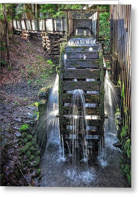 Greeting Card featuring the photograph Leaky Mill Wheel by Alan Raasch