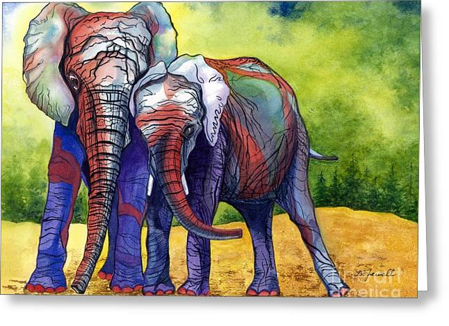 Greeting Card featuring the painting Lean On Me by Barbara Jewell