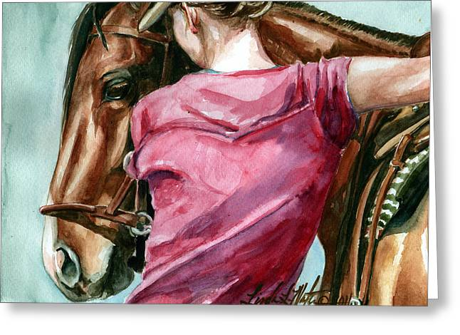 Wild Horses Greeting Cards - Lean On Me Greeting Card by Linda L Martin