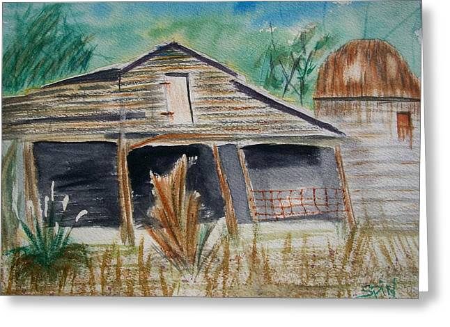 Leaning Barn And Pompus Grass Greeting Card