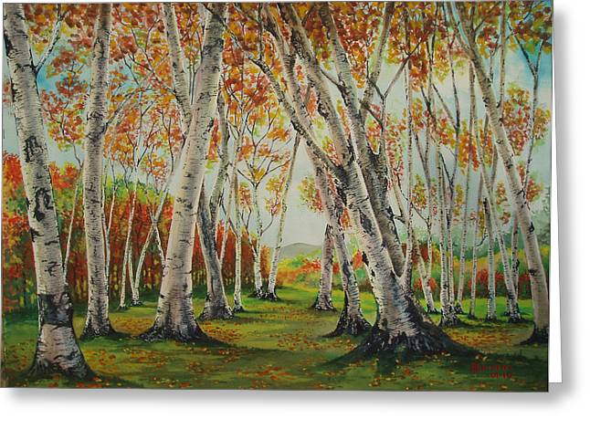 Leaning Birches Greeting Card by Charles Hetenyi