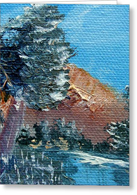 Bob Ross Paintings Greeting Cards - Leaning Pine Tree Landscape Greeting Card by Jera Sky